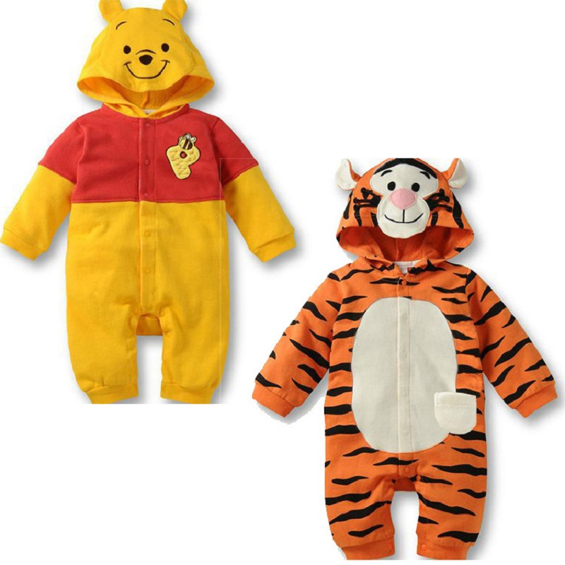 Baby Boy Clothes 2019 Spring Autumn Kids Romper Long-Sleeved Cartoon Tiger Cute Bear Style Baby Jumpsuit Rompers For 6-18M
