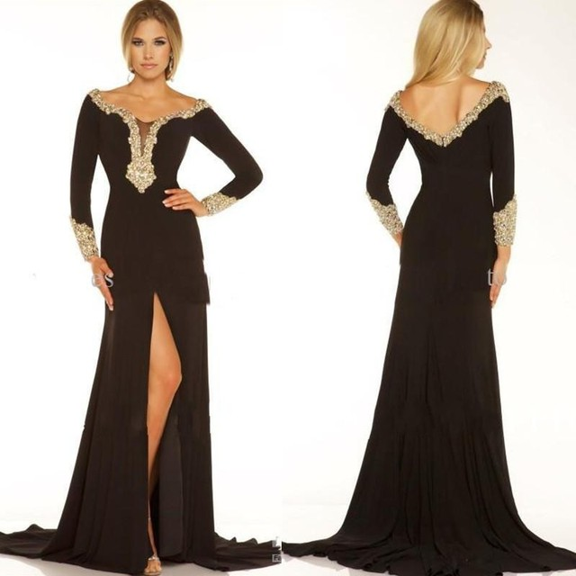 Aliexpress.com : Buy With Gold Beads Black Evening Dresses Front ...