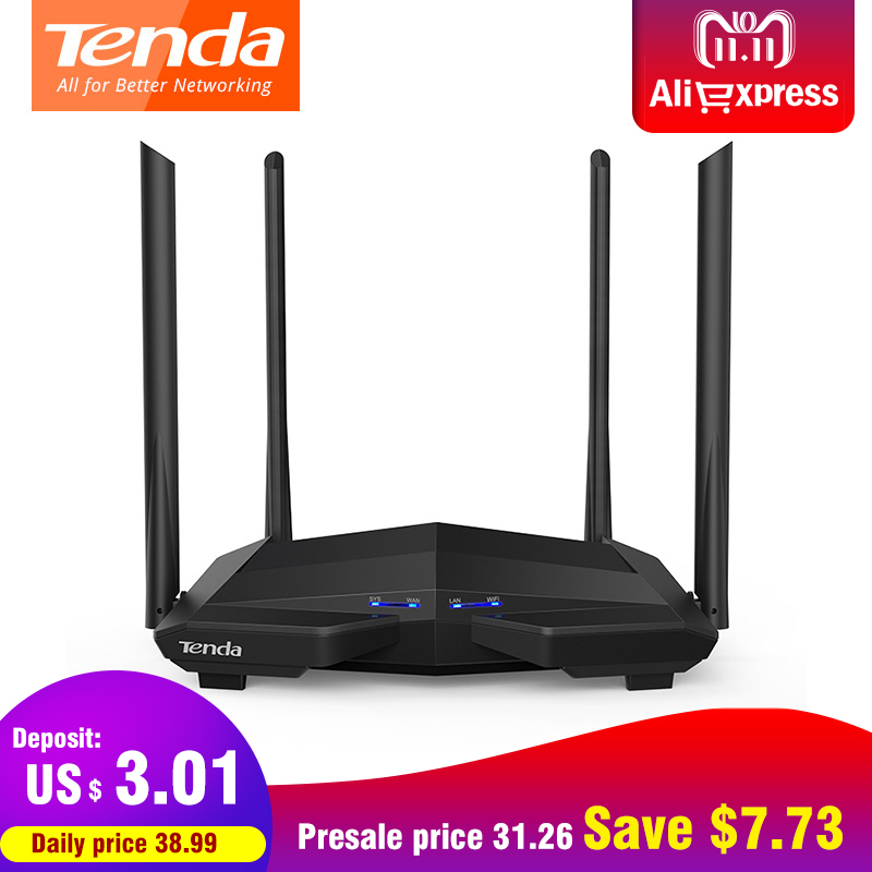 Tenda AC10 AC1200 Dual band 2.4G/5G Wireless Wifi Router 1000Mbps Gigabit Repeater 802.11AC Smart APP Manage English Firmware цена и фото