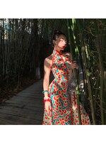 Le Palais Vintage Original Retro Contrast Color Collision Water Pattern Simulation Silk Show Thin Cheongsam Party Women Dress