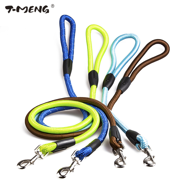T-MENG 120CM High Quality Nylon Dog Leash For Large Dogs 8 Colors Training Leads Strap Round Rope Leashes Goods For Pet Products