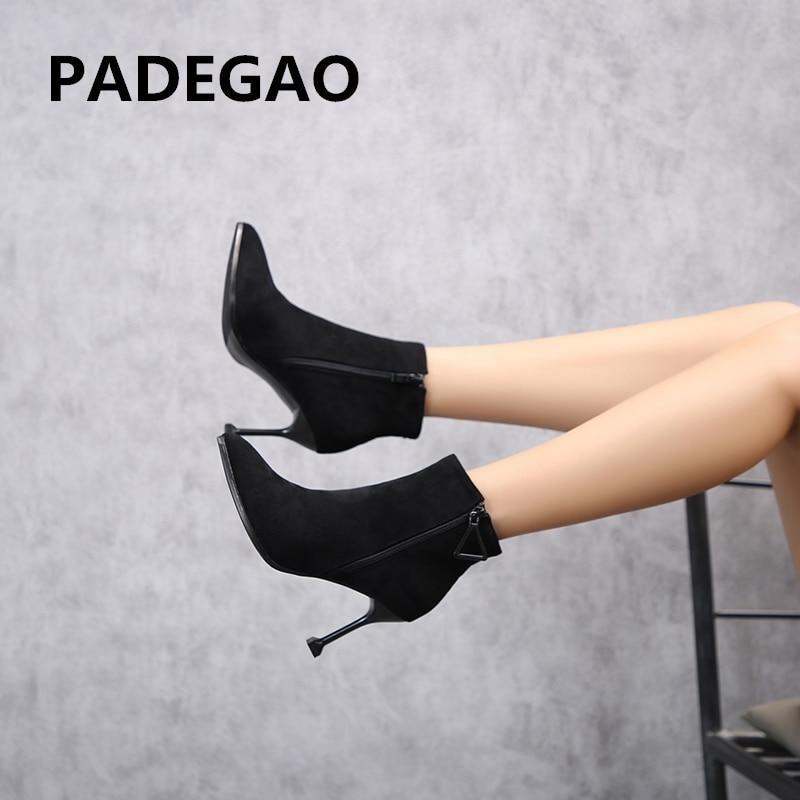 Cabeza Padegao Rebaño Sexy Mujer Negro Tacón Alta La Señaló Botas Tobillo  ZqZO75W 21664b9943ba