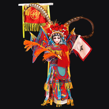 Fortune days doll East Charm Mu Guiying including clothes stand and box Chinese style Peking opera 35cm