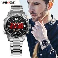 WEIDE Luxury Brand Men Fashion Sport Watches Men's Quartz Digital Analog Clock Man Full Steel Wrist Watch