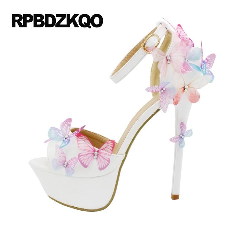 Plus Size 14cm 11 43 Rhinestone Open Toe Unique Sandals Super Pumps High  Heels Ivory Shoes Wedding Crystal Crossdresser Platform 04c27e6d6775