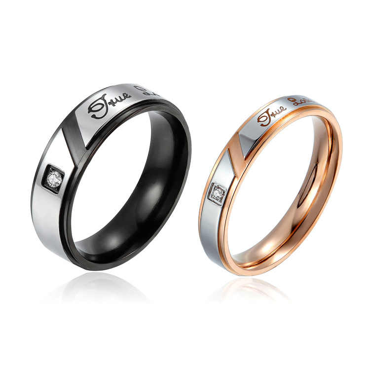 True Love Wedding Promise Rings Set Stainless Steel Couples Engagement Bands for Men and Women