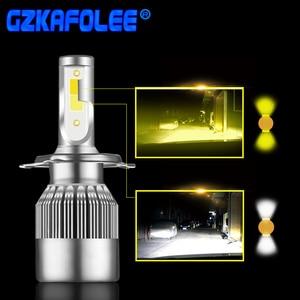 Image 1 - 2 個超高輝度車のヘッドライト電球 H1 led H3 H4 H7 H1 led 3000 18k 6000 18k ダブルカラーヘッドランプ H8 H9 H11 9005 9006 HB3 HB4 880
