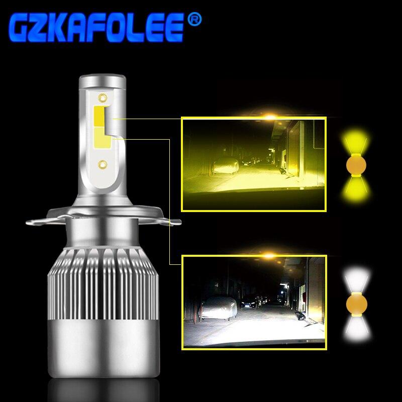 2 pz Super Luminoso Del Faro Dell'automobile Della Lampadina H1 led H3 H4 H7 H1 Led 3000 k 6000 k Doppio Colore faro H8 H9 H11 9005 9006 HB3 HB4 880