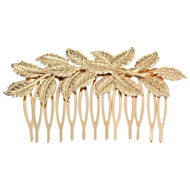 HTHL-Fashion Punk Women Girls Gold Leaf Hair Comb Hair Clip Jewelry Cuddly, Gold