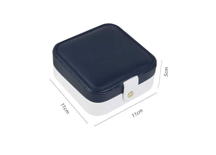 2018 جودة بو الجلود والمجوهرات تخزين مربع 11*11*5 سنتيمتر مجوهرات مربع قلادة حلقة الأذن مسمار المنظم أزياء المحمولة صناديق المجوهرات