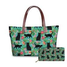 NOISYDESIGNS Black Cat Wine Printed Luxury Handbags Women Bags Designer Large Capacity Tote Girls Long Wallet Shoulder Casual