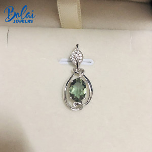 Image 4 - Bolai Color Changing Nano Diaspore Leaf Pendant Necklace Genuine 925 Sterling Silver Stone Fine Jewelry For Women Girls Gift
