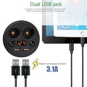 Image 3 - Powstro Cup Car Charger 5V 3.1A Digtial Display Dual USB Car Charger With 2 Cigarette Lighter Socket For GPS DVR Mobile Charging