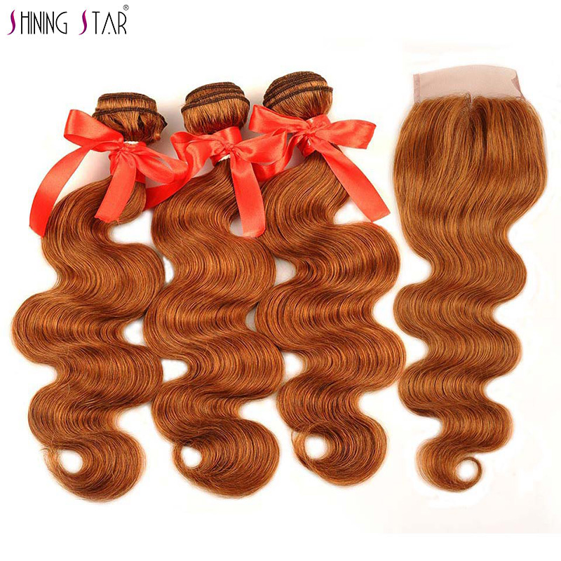Shining Star Human Hair Extensions 3 Gold Blonde Bundles With Closure Color 30 Malaysian Body Wave