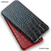 Genuine Leather Case For Xiaomi Redmi 5 Crocodile Grain Exotic Premium Leather Custom Design Cell Phone