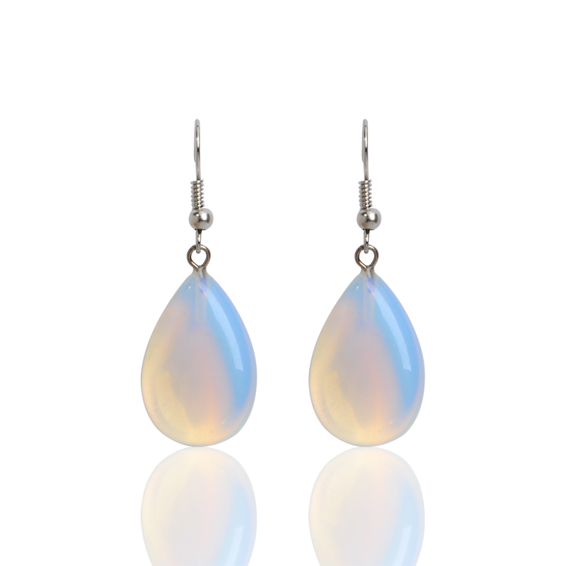 New Fashion Dangle Earrings Women Water Drop Shape Blue Fire Opal Natural Stone Pendants Drop Earrings