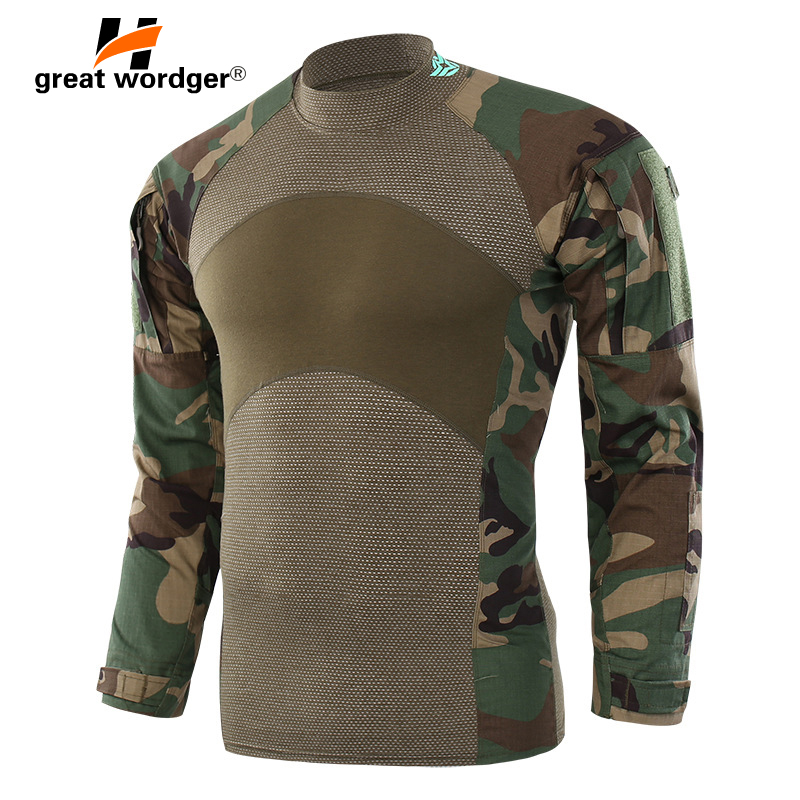 Men Army Tactical T shirt SWAT Soldiers Military Combat T-Shirt Long Sleeve Camouflage Hiking Shirts Paintball T Shirts men military tactical outdoor shirts 100% cotton breathable long sleeve shirt army multi pockets swat shooting urban sports