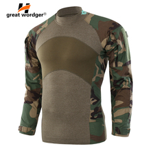 Men Army Tactical T shirt SWAT Soldiers Military Combat T-Shirt Long Sleeve Camouflage Hiking Shirts Paintball