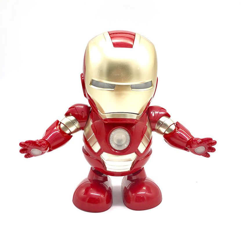 Танцевальный Железный человек фигурка игрушка светодиодный фонарик со звуком Мстители герой Железный человек электронная игрушка Рождественский подарок для детей 2019