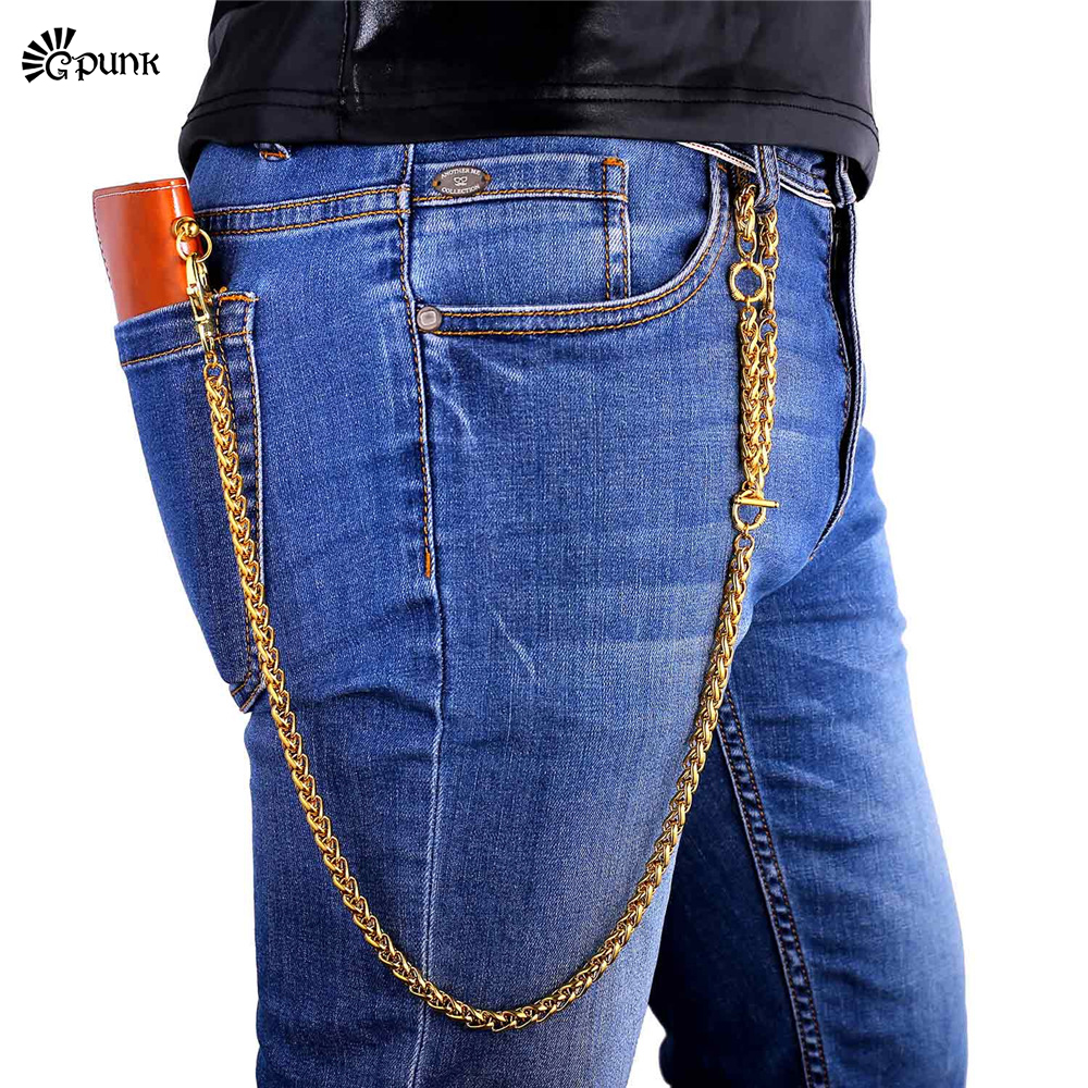 Mens metal portefeuille chaîne Ceinture Taille Chaîne bourse chaîne Blé  chaîne Hommes accessoires En Gros BC7G ba49cf04642