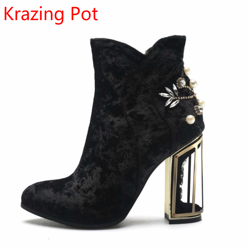2018 Fashion Brand Winter Shoes Velvet Bridcage High Heels Crystal Pearl Superstar Pointed Toe Zipper Sexy Women Ankle Boots L13