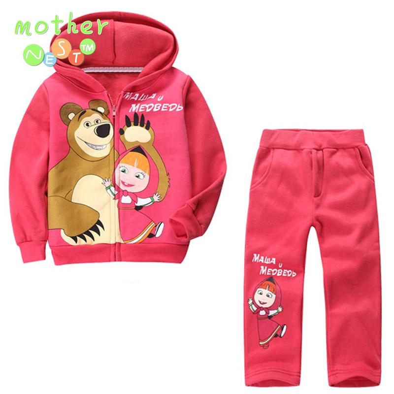 HOT Retail children clothing set Baby Girls Masha Bear Warm Suit hoody jacket pants cartoon clothes