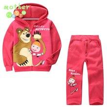 HOT! détail enfants vêtements ensemble, bébé Filles Masha Ours Chaud Costume, sweat à capuche veste + pantalon de bande dessinée vêtements enfants sport