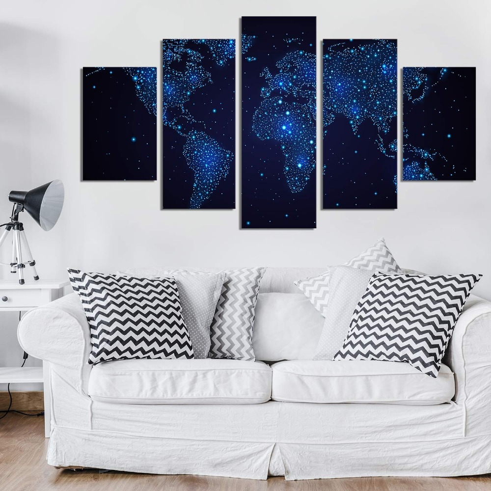 Sparkling Blue Night Canvas Wall Art Abstract Print Home