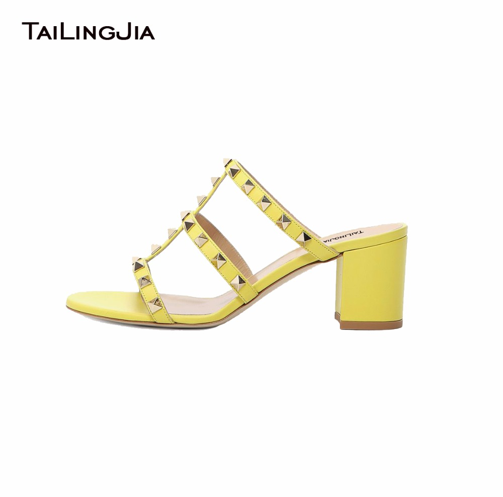 afa0b39e3 2017 Women Studded Middle Heel Pink Sandals Ladies Black Yellow Block Heel  Mules Rivets Studs Summer Chunky Heel Shoes Plus Size-in Women's Sandals  from ...