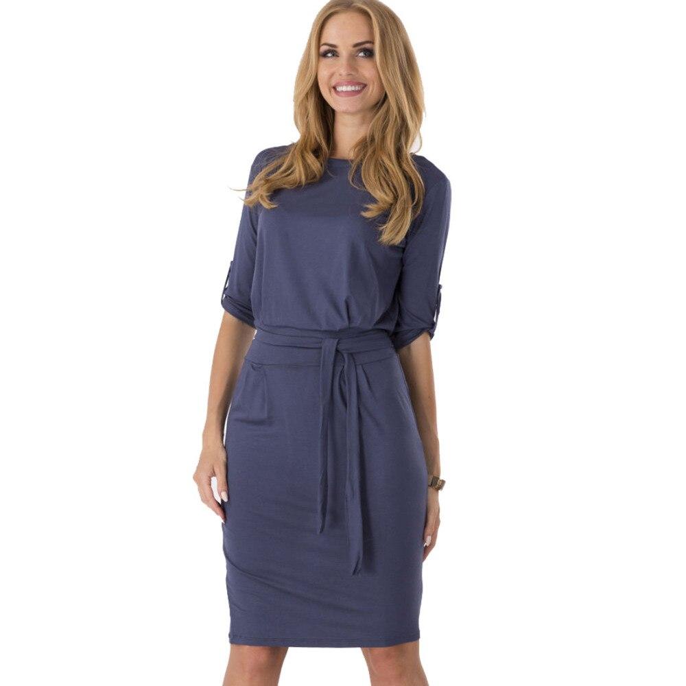 2018 New Fashion Hot Sale Celeb Summer Autumn Middle Sleeve Casual Work Charm Dresses Wholesale ...