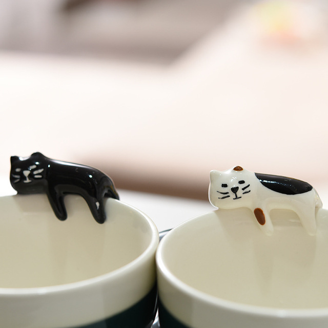ceramic cat mug cartoon couple coffee mugs
