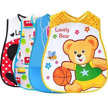 50pc wholesale Bibs EVA Waterproof Lunch Bibs Boys Girls Infants Cartoon Pattern Bibs Burp Cloths For Children Self Feeding Care