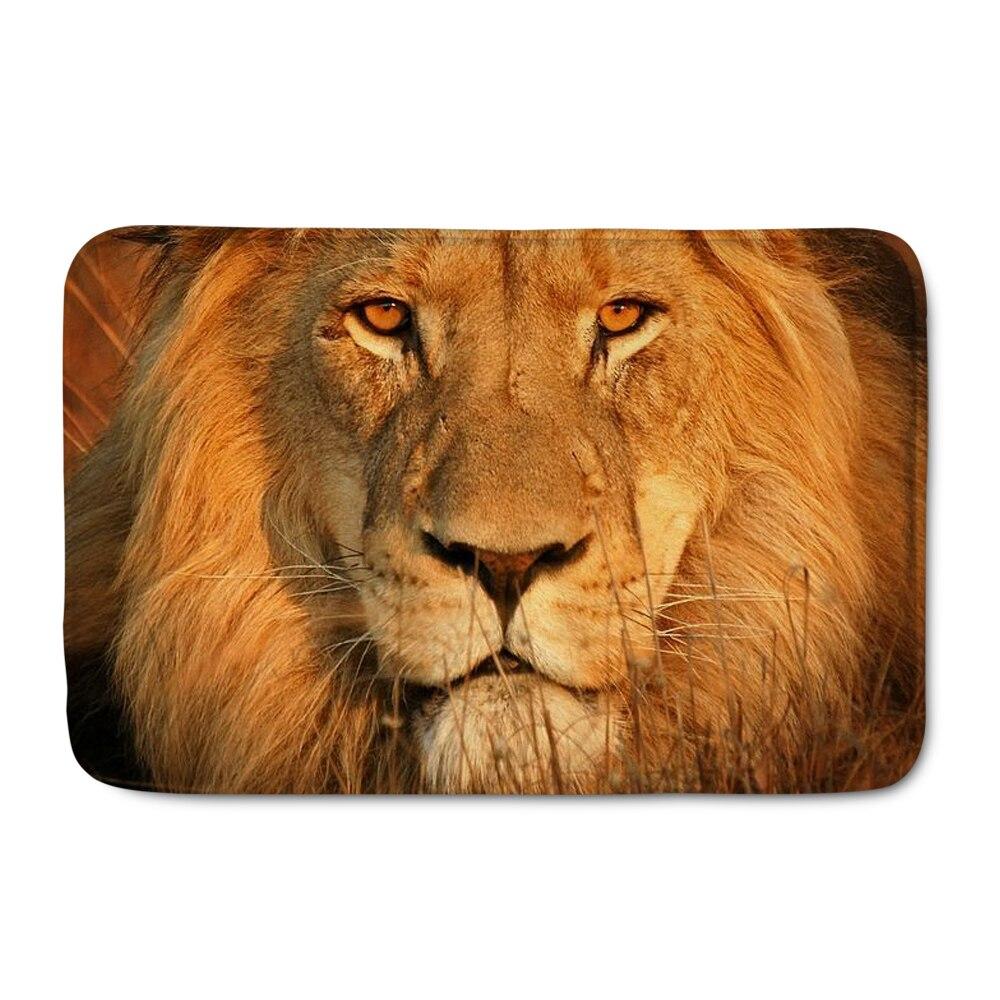 Entrance Anti-Slip Doormat 3d Animal Lion Print Carpets Flannel Bedroom Rugs Decorative Stair Mats Home felpudo deurmat