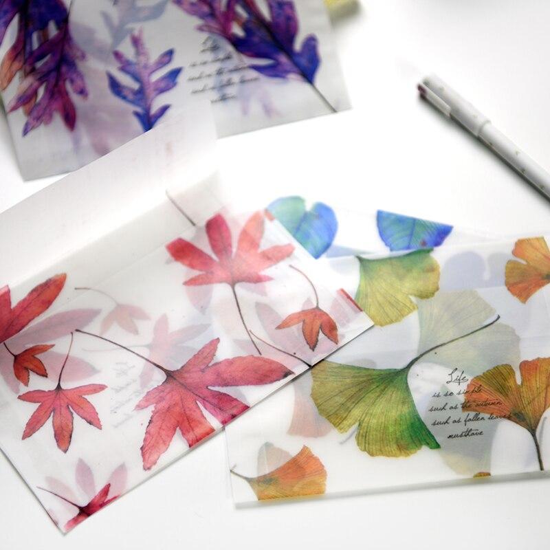 4 Pcs/lot Cute Leaf Paper Envelope Kawaii Sulfuric Paper Matte Translucent Envelopes Bag For Postcard Letter Stationery Gift