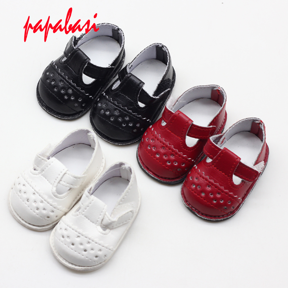 1Pair Of Fashion Doll Shoes Strap PU Leather Shoes For 16'' Sharon Dolls Clothing Accessories Toys