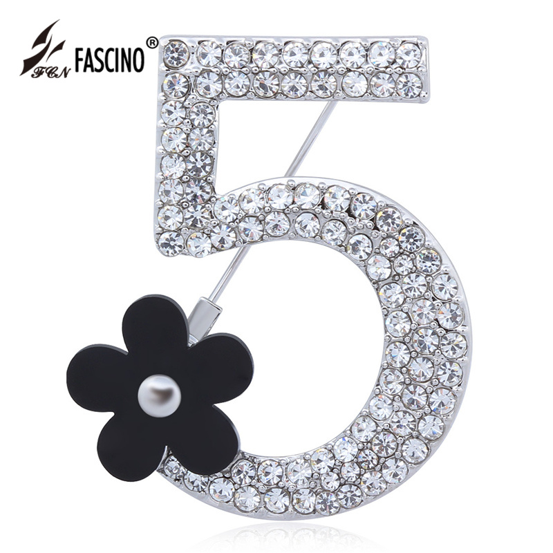 2016 New Brand Brooches Letter 5 Full Crystal Rhinestone Brooch Pins For Women Party Flower Number