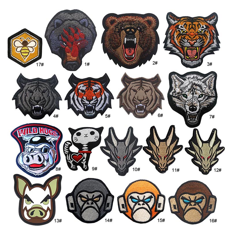 1pc Badge Animal Pattern Embroidery DIY Apparel Hook And Loop Fastener Armband Clothes Backpack Hat Patch New