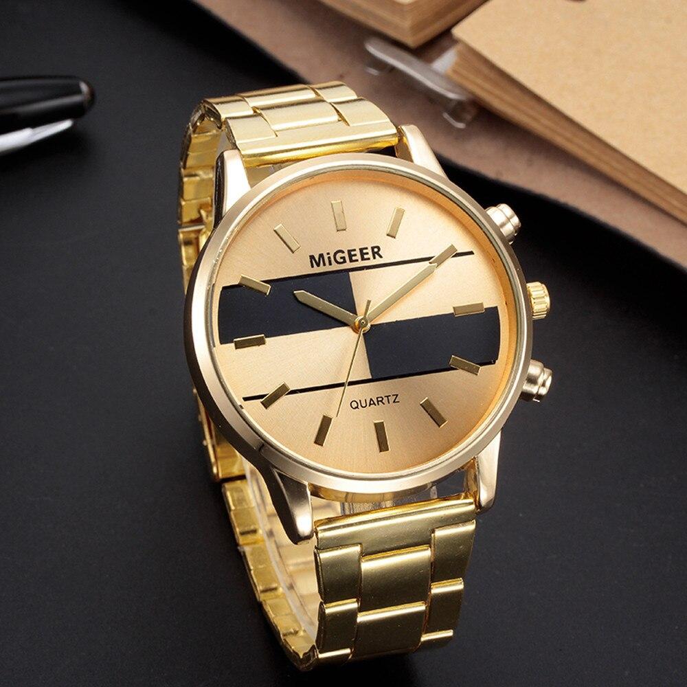 Fashion Man Design Stainless Steel Analog Alloy Quartz Wrist Watch luxury brand fashion casual silver gold watches A40 analog watch