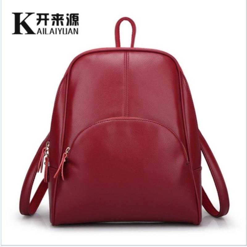 купить KLY 100% Genuine leather Women backpack 2018 New Cow Leather Women Backpack Mochila Feminina School Bags for Teenagers