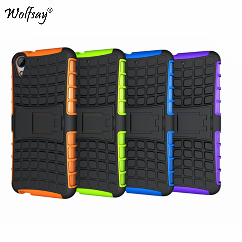 Wolfsay For Case HTC Desire 626 Cover 626G Soft Rubber Hybrid PC Case For HTC Desire 626 Phone Holder Stand For HTC 626 < image