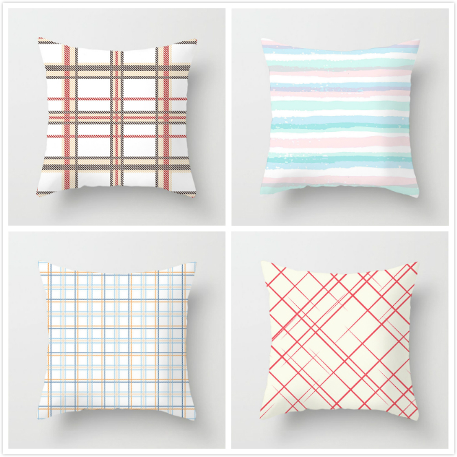 Fuwatacchi Color Pink Stitching Pillow Case Cute Geometric Printed Cushion Cover For Sofa Home Car Decoration Pillowcases 2019