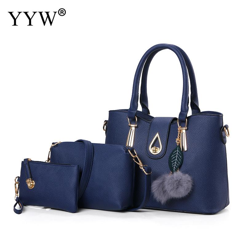 3 PCS/Set Pink PU Leather Handbags Women Bag Set Brands Tote Bag Lady's Shoulder Crossbody Bags Casual Clutch Bag Women's Pouch