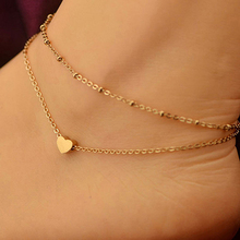 24 pieces Women's Love Heart Shape Ankle Bracelet Double Layers Chain Sexy Foot Anklet calzerotto Tornozelo Barefoot Accessories
