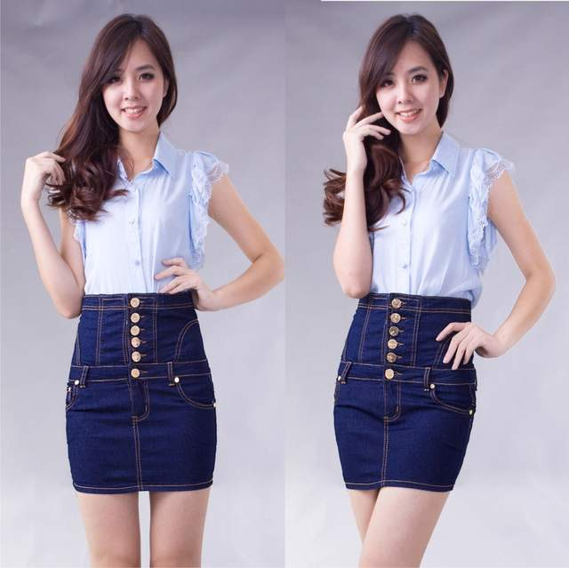 Online Shop New Fashion High Waist Denim Skirt Plus Size Women S