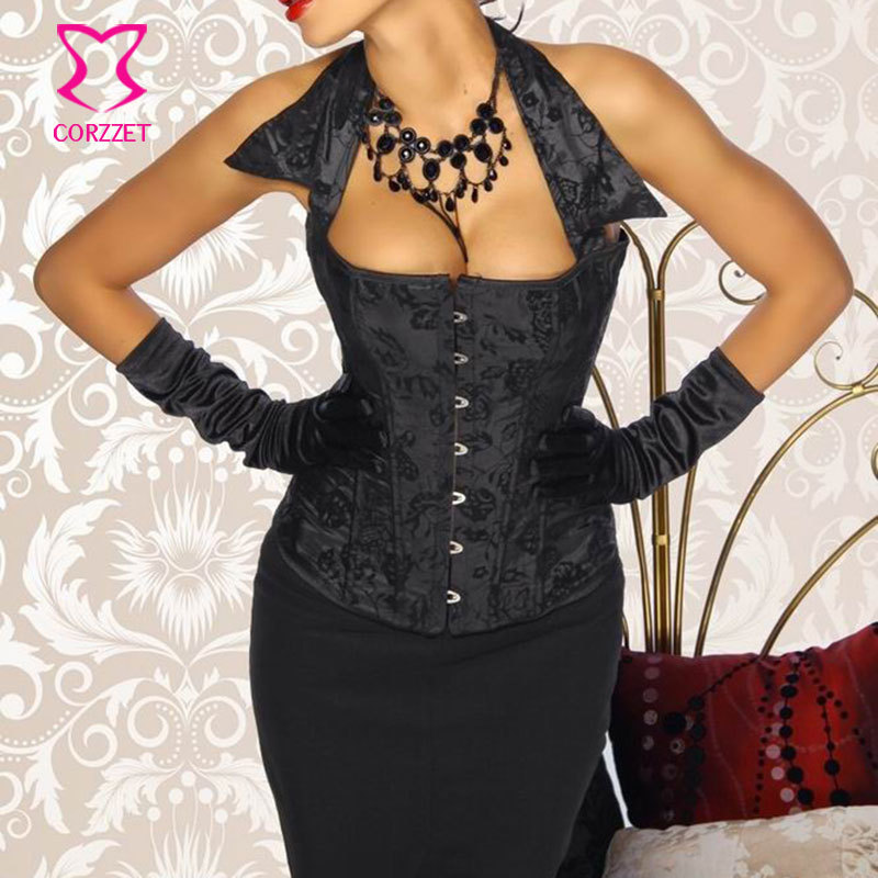 Black Floral Pattern Flocking Halter Collar Lace Up Sexy Overbust Corset Top font b Women b