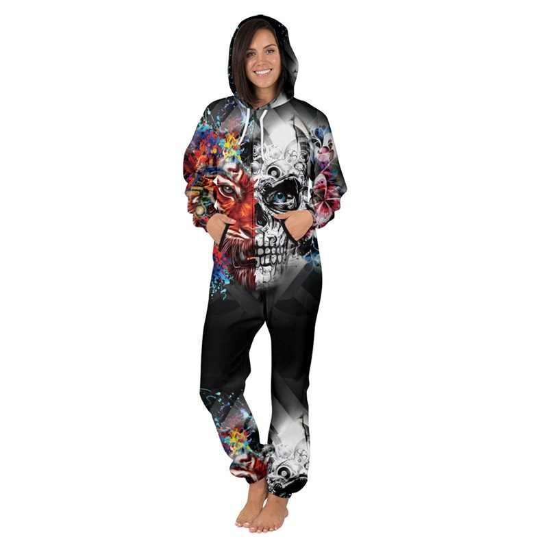 Phụ nữ Người Đàn Ông Sọc Jumpsuit Hoodies Dễ Thương Sọ In Unisex Romper Playsuit Outwear Mùa Thu Mùa Đông Onesies Tracksuit Thể Thao