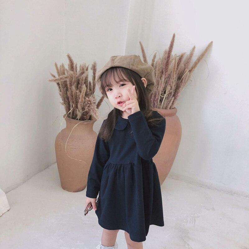 1c0971605734b DFXD Korean Style Girls Dresses 2018 Fashion Autumn Navy Blue Long Sleeve Peter  Pan Collar Little