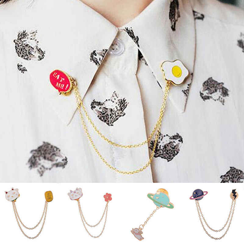 1 Pc Fashion  Brooches Badge Pin Jewelry Gift Cute Collar Brooch Egg Cat Moon Rabbit Chain  piece brooch pin