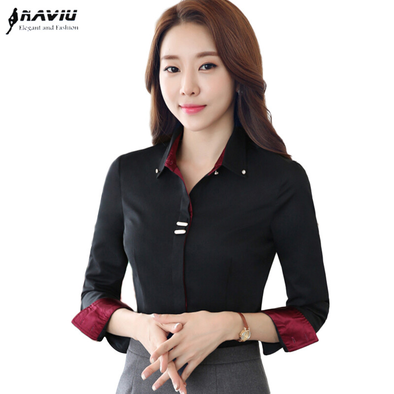 Fashion clothes OL women long sleeve shirt black white slim Patchwork Sequined cotton blouse office ladies plus size formal tops 貓 帳篷