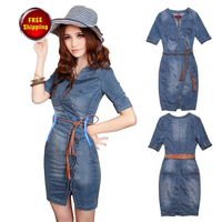 8a7918a146 Promotion Fashion Womens Vintage Slim Fitted Bull-puncher Dress short  sleeve Jean Denim Dresses with